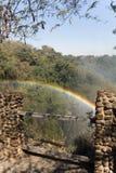 Breed meningslandschap als achtergrond, Regenboog van Victoria Falls, Zambia Stock Foto