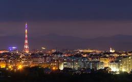 Breed panorama, luchtnachtmening van moderne toerist ivano-Frankiv Royalty-vrije Stock Fotografie