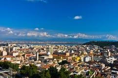 Breed panorama van Cagliari van Castello-muren, Sardinige Royalty-vrije Stock Foto's