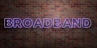 BREEDBAND - fluorescent T.L.-buisteken op metselwerk - vooraanzicht - 3D teruggegeven royalty vrij voorraadbeeld stock illustratie