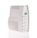 Breedband modem die op witte achtergrond wordt geïsoleerde stock foto's