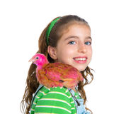 Breeder hens kid girl rancher farmer with chicken chicks Stock Photos