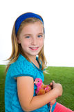 Breeder hens kid girl rancher farmer with chicken chicks Stock Photo