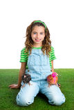 Breeder hens kid girl rancher farmer with chicken  Royalty Free Stock Photo