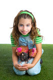 Breeder hens kid girl rancher farmer hug chicken chick Royalty Free Stock Photos