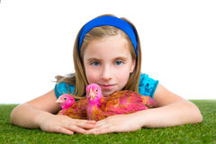 Breeder hens kid girl rancher farmer hug chicken chick Stock Photos