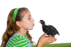 Breeder hens kid girl rancher farmer kissing a chicken chick Royalty Free Stock Image