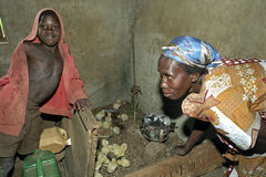 Breeding chicks by Ugandan woman with son