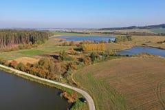 Breeding ponds landscape stock images