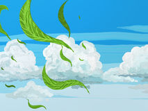 Breeze. Painted style vivid spring or summer sky with leaves and cool fresh breeze Stock Photo