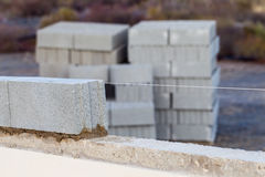 Breeze block wall construction with string line Stock Photos