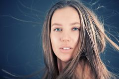 Breeze. Portrait of attractive girl Royalty Free Stock Photos