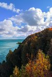 A breezy fall day on Mackinaw Island overlooking Lake Huron. Taken on the eastern side of the island royalty free stock photo