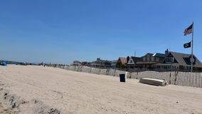 Breezy point homes queens new york oceanfront private beach. There is oceanfront homes of Breezy Point, which is a neighborhood in the New York City borough of royalty free stock image