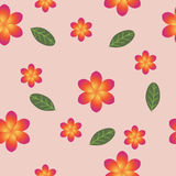 Breezy seamless pattern with frangipani. Blossom and leaves of Plumeria on pink background can be used for design of textile, print, wrapping paper or computer Stock Image
