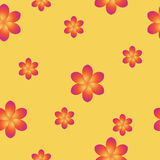 Breezy seamless pattern with frangipani. Blossom of Plumeria on yellow background can be used for textile, print, wrapping paper or computer wallpaper. Spring or Royalty Free Stock Photography