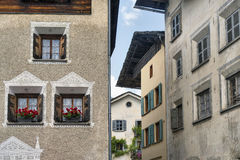 Bregaglia (Graubunden, Switzerland): old village. Breagaglia (Grigioni, Graubunden, Switzerland): historic village on the road to Maloja Stock Photo