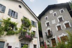 Bregaglia (Graubunden, Switzerland): old village. Breagaglia (Grigioni, Graubunden, Switzerland): historic village on the road to Maloja Royalty Free Stock Photos