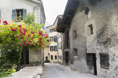 Bregaglia Graubunden, Switzerland: old village. Breagaglia Grigioni, Graubunden, Switzerland: historic village on the road to Maloja Stock Image