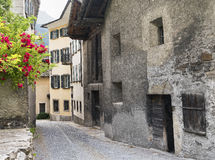 Bregaglia Graubunden, Switzerland: old village. Breagaglia Grigioni, Graubunden, Switzerland: historic village on the road to Maloja Stock Images