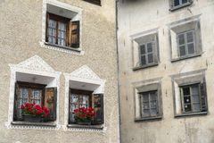 Bregaglia (Graubunden, Switzerland): old village. Breagaglia (Grigioni, Graubunden, Switzerland): historic village on the road to Maloja. Windows Stock Photos
