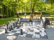 BREGENZ, ÁUSTRIA - 24 DE JUNHO DE 2015: Os homens não identificados jogam a xadrez com partes de xadrez gigantes no lago Constanc Imagens de Stock Royalty Free