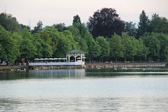 Bregenz, Österreich mit Gazebo bei Bodensee Lizenzfreies Stockfoto