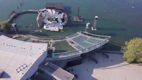 Bregenz Austria from air shot of art installation. Aerial shot stock footage