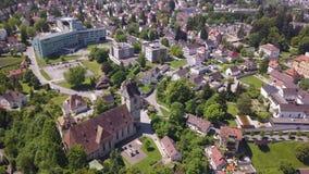 Bregenz Austria from air shot. Church in Bregenz Austria from air.. Aerial shot stock footage