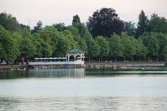 Bregenz, Oostenrijk met gazebo in het Meer van Konstanz Royalty-vrije Stock Foto