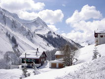 Bregenzerwald. Houses in alp valley, Vorarlberg, Austria Royalty Free Stock Photography