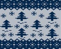 Brei Kerstmis geometrisch ornament met Kerstmisbomen en dalende sneeuwvlokken Het naadloze patroon van de vakantie stock illustratie