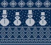 Brei Kerstmisontwerp met sneeuwmannen en sneeuwvlokken Blauwe naadloze achtergrond vector illustratie