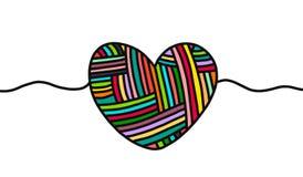 Brei wolhand getrokken hart in beeldverhaalstijl Vector illustratie stock illustratie