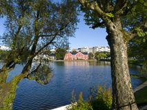 Breiavatnet, the main Stavanger Lake. Stavanger has several beautiful lakes, which are popular recreation areas. Breiavatnet is located in the heart of Stavanger Royalty Free Stock Photo