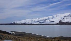 Breidarlon glacier lake Iceland. Picture of Breidarlon glacier lake with dolphin like shore line royalty free stock image