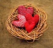 Breiende harten in het nest Stock Foto's