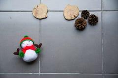 breiende sneeuwmanpop en denneappels Stock Foto's
