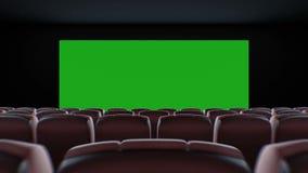 Breitbild im Kino Hall Moving Through Over die Stühle Schöne Animation 3d mit Lichtern, grünem Schirm und der Spurhaltung stock footage