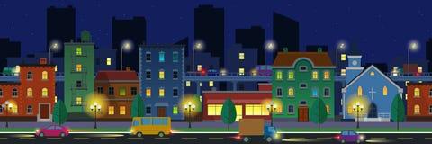 Breitbildstadtbild in der flachen Art in der Nacht Stockfotografie