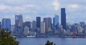 Breite Ansicht des Seattles, Washington Skyline 4K stock video