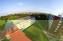 Breite Ansicht Fisheye von Strahov-Schlafsälen Stockfoto