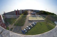 Breite Ansicht Fisheye von Strahov-Schlafsälen Lizenzfreie Stockfotos
