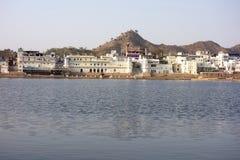 Breite Ansicht von Pushkar See lizenzfreies stockfoto