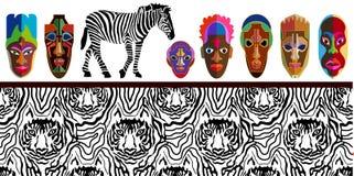 Breite Panoramische Nahtlose Vektorgrenze Mit Afrikanischen Masken