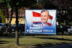 Breitenbrunn, Burgenland, Austria – September 1, 2016: Billboard with Norbert Hofer, candidate FPO party Royalty Free Stock Image