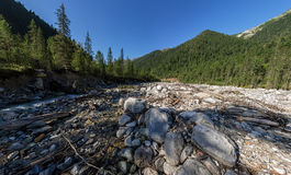 Breiter Aero Panoramagebirgsfluss fließt in den Wald zwischen Stockbild