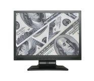 Breiter LCD-Bildschirm mit Dollarhintergrund Lizenzfreies Stockfoto