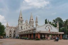 Breiter Schuss der gesamten Saint Joseph-Kirche in Dindigul lizenzfreies stockbild