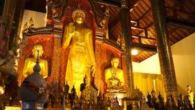 Breiter Schuss des großen stehenden Buddha-Bildschiebers stock video footage